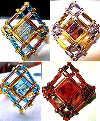 Кольцо из бисера и стекляруса