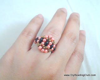 Плетёное кольцо из бисера: мастер-класс