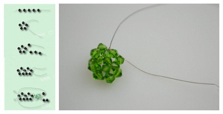"""Серьги """"Яблочки"""" - схема плетения"""