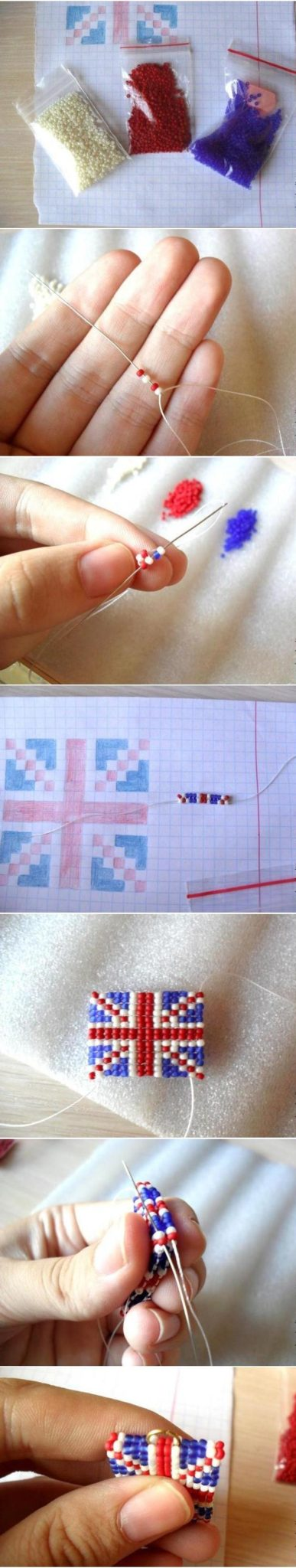 Серьги из бисера с британским флагом: мастер-класс