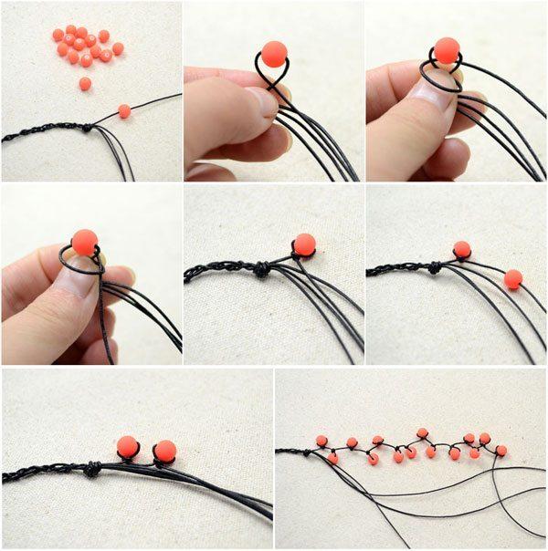 Простой браслет из бусин - схема плетения