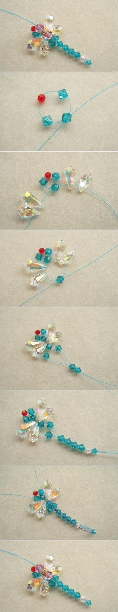Стрекоза из бусин - схема плетения