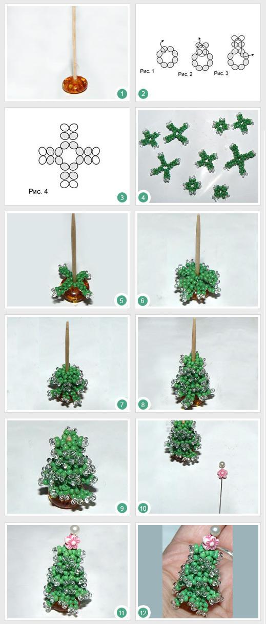 Пошаговые из бисера плетения елки инструкции
