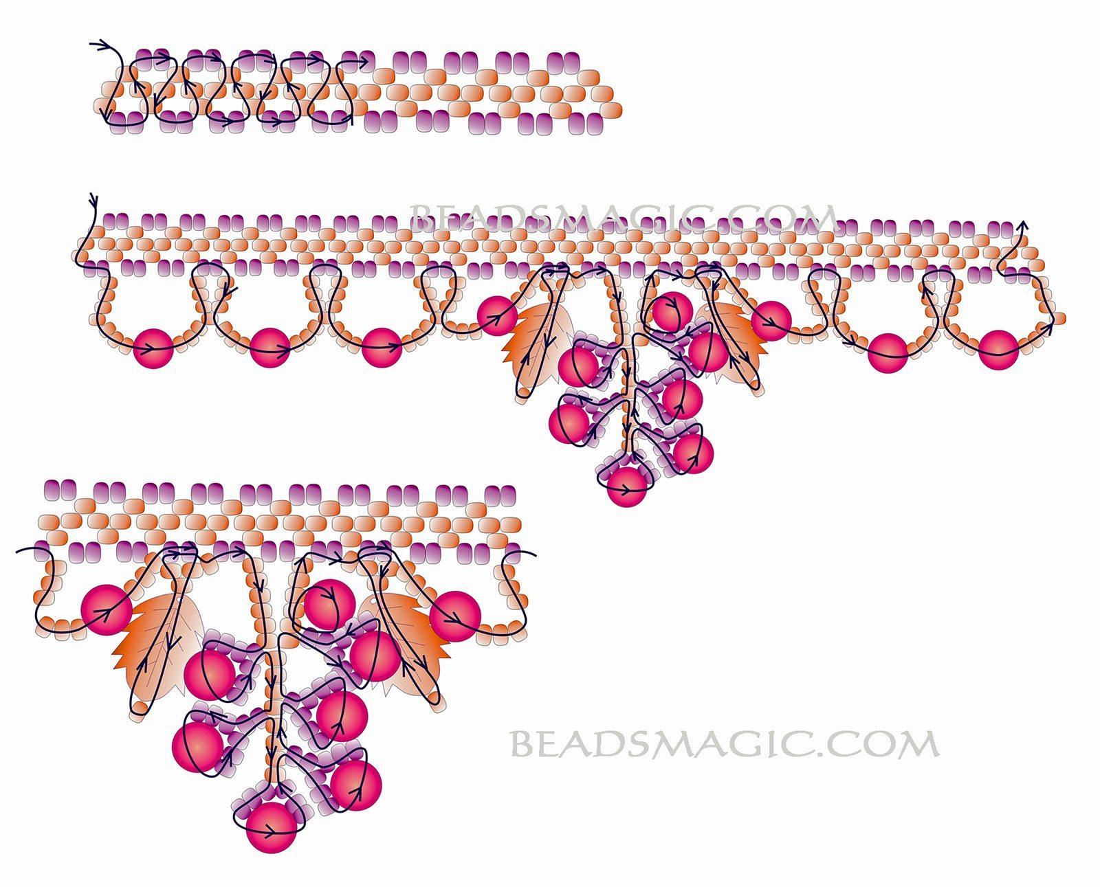 Схема плетение ожерелья из бисера