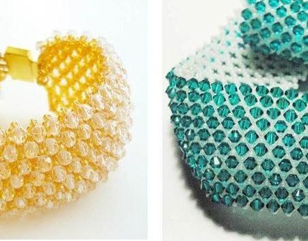 Широкий браслет из бисера - схема плетения