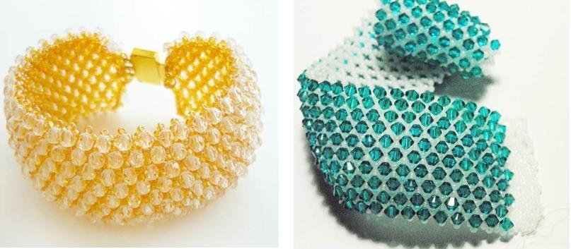 Широкий браслет из бисера схема плетения