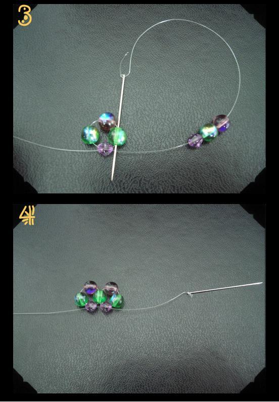 Простой цветок из бусин - схема плетения