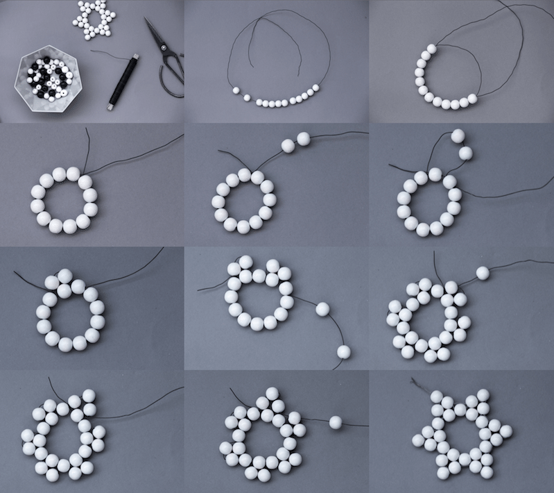 Снежинка из бисера: схема