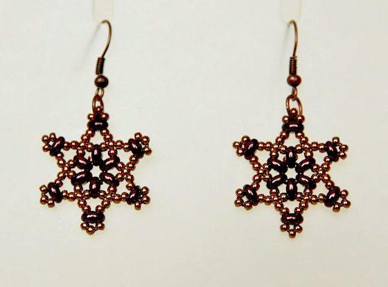 Серьги звезды с бисером твин