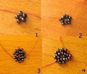Схема плетения объемной морской звезды из бисера