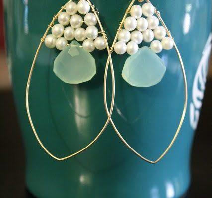 Свадебные серьги из бисера