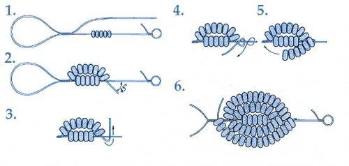 Клубничка из бисера - схема плетения листика
