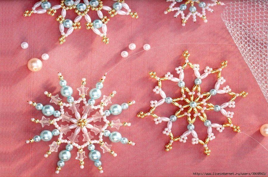 Объёмные бисерные снежинки