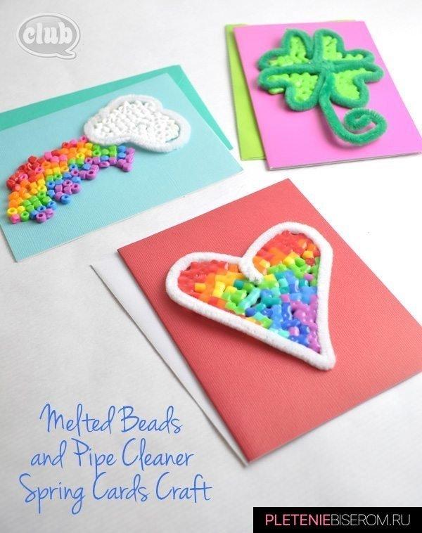 Праздничные открытки из бисера