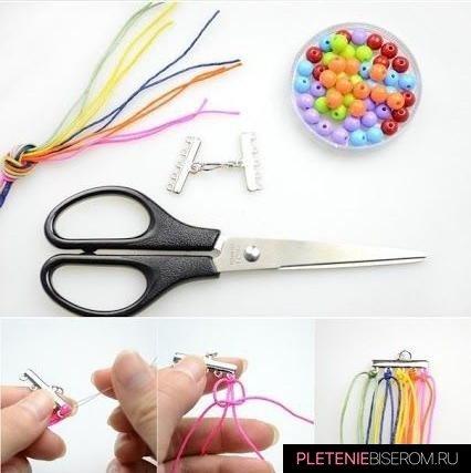Радужный браслет из бусин: схема плетения 1