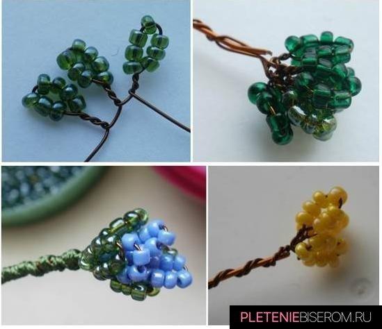 Схема плетения стебля голубой фиалки из бисера