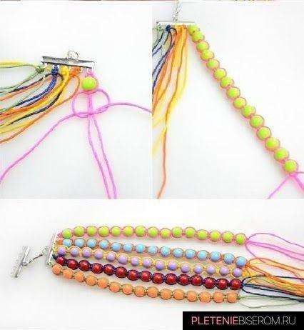 Радужный браслет из бусин: схема плетения 2
