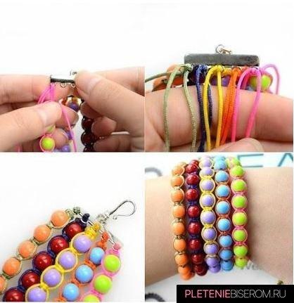 Радужный браслет из бусин: схема плетения 3