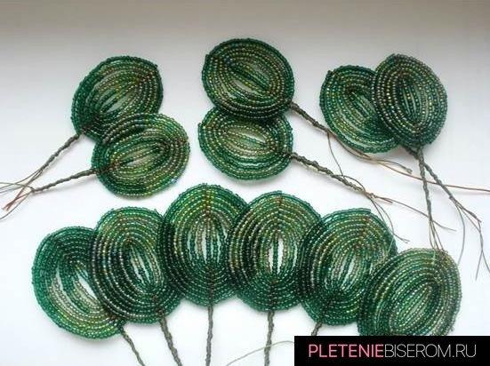 Схема плетения листьев голубой фиалки из бисера