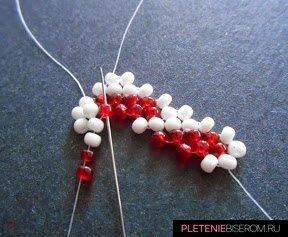 """Браслет из бисера """"Сердце"""": схема плетения и мастер-класс 1"""