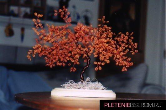 Осеннее дерево из бисера своими руками