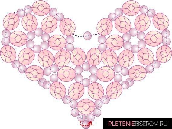 Схема плетения сердца из бисера-21