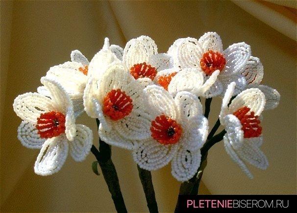 Букет нарциссов <em>посмотреть как сделать цветы из бисера</em> из бисера