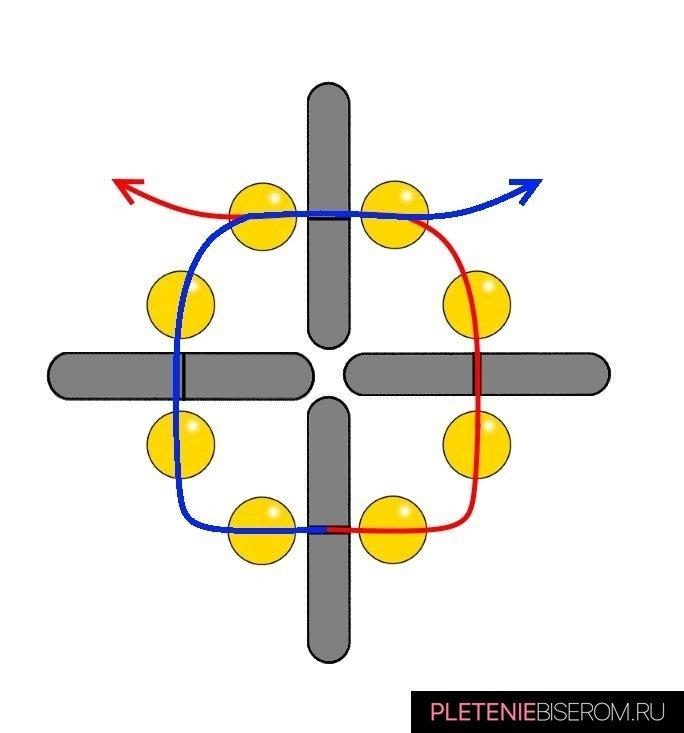 Браслет из бисера и плоских бусин: схема плетения 1