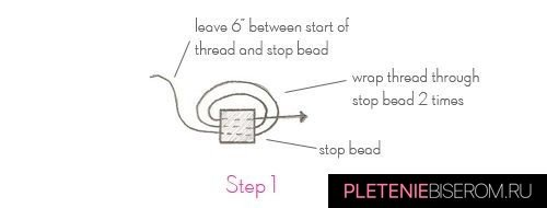 Схема плетения простого кольца из бисера