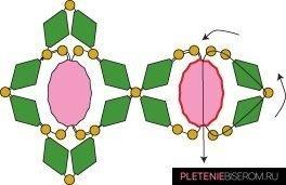 Схема плетения гранатового браслета из бусин и бисера 10