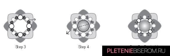 Серебряная звезда из бисера: схема плетения 1