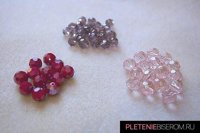 Материалы для ожерелья из гранёных бусин