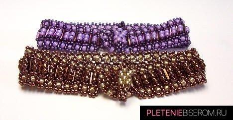 """Браслет из стекляруса """"Нифертити"""": схема плетения"""
