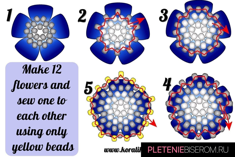 Бусина из бисера и бусин - схема плетения 2