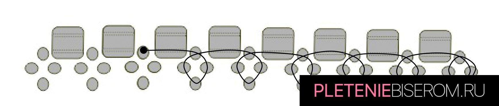 Стильные серьги из бисера: схема плетения 4