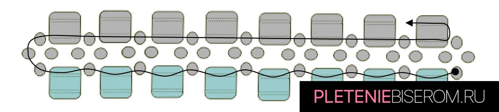 Стильные серьги из бисера: схема плетения 5