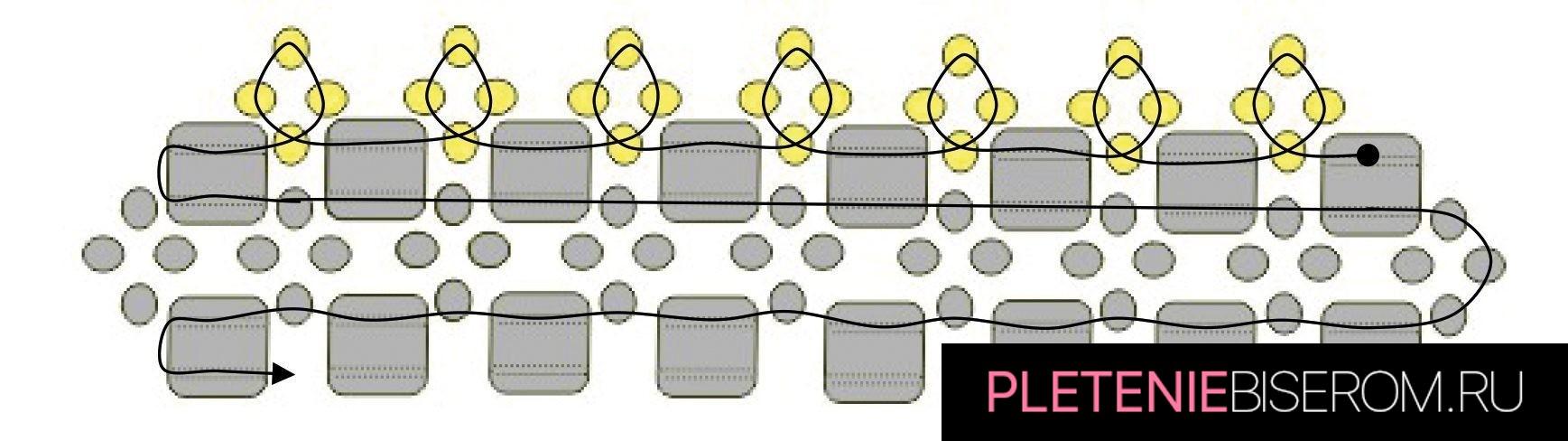Стильные серьги из бисера: схема плетения 6