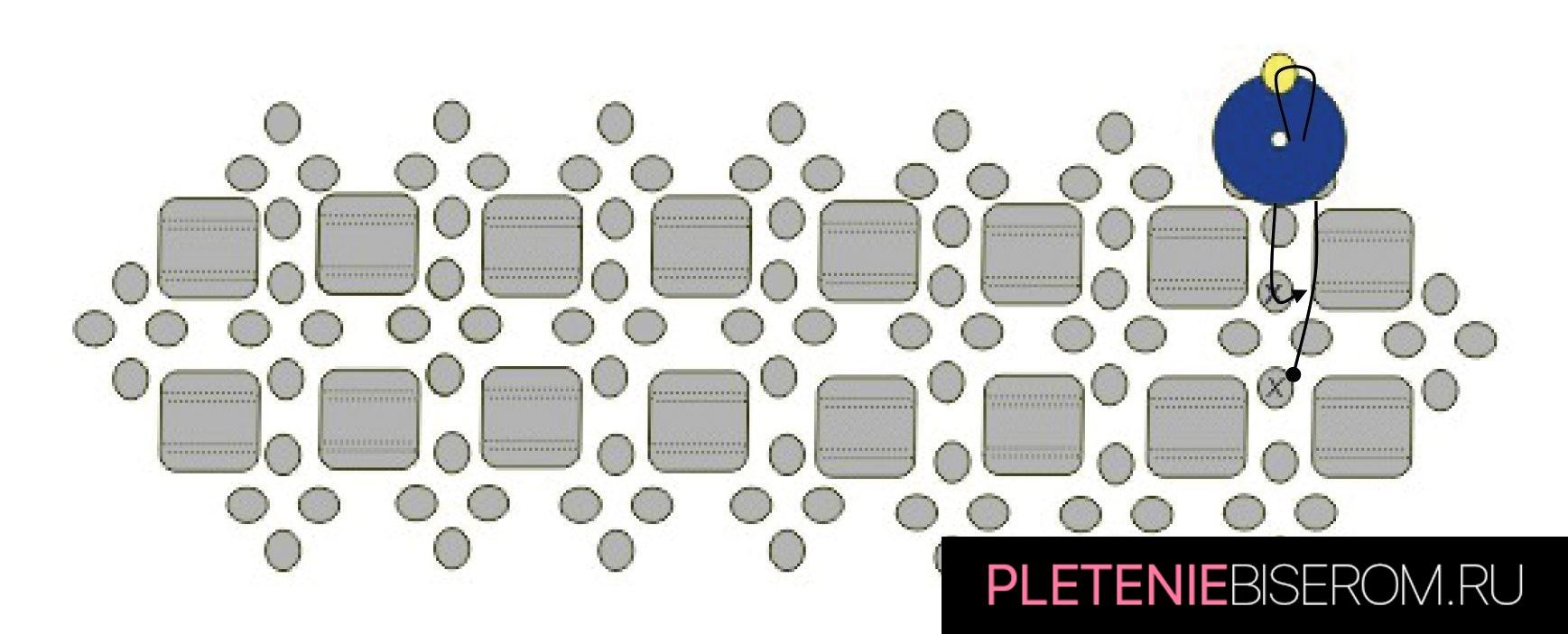 Стильные серьги из бисера: схема плетения 8
