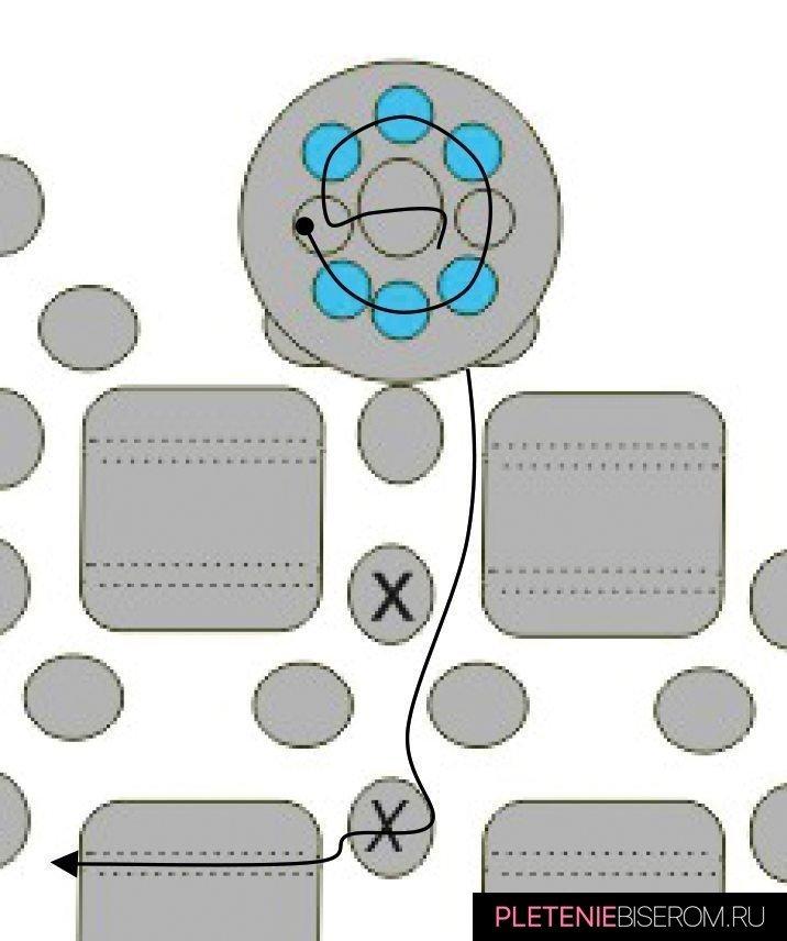 Стильные серьги из бисера: схема плетения 10