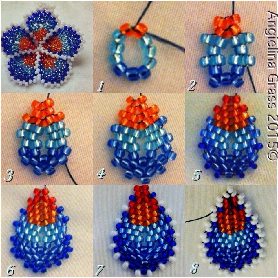 Схема плетения плюмерии из бисера
