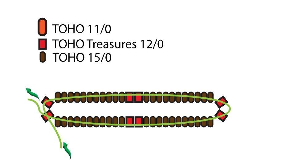 Квадратные серьги из бисера - схема плетения