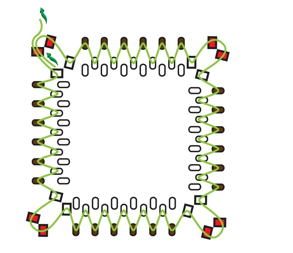 Квадратные серьги из бисера - схема плетения 1