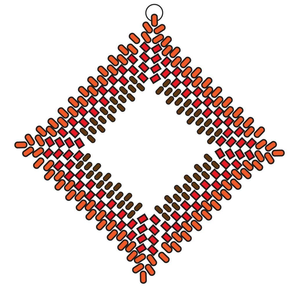 Квадратные серьги из бисера - схема плетения 2