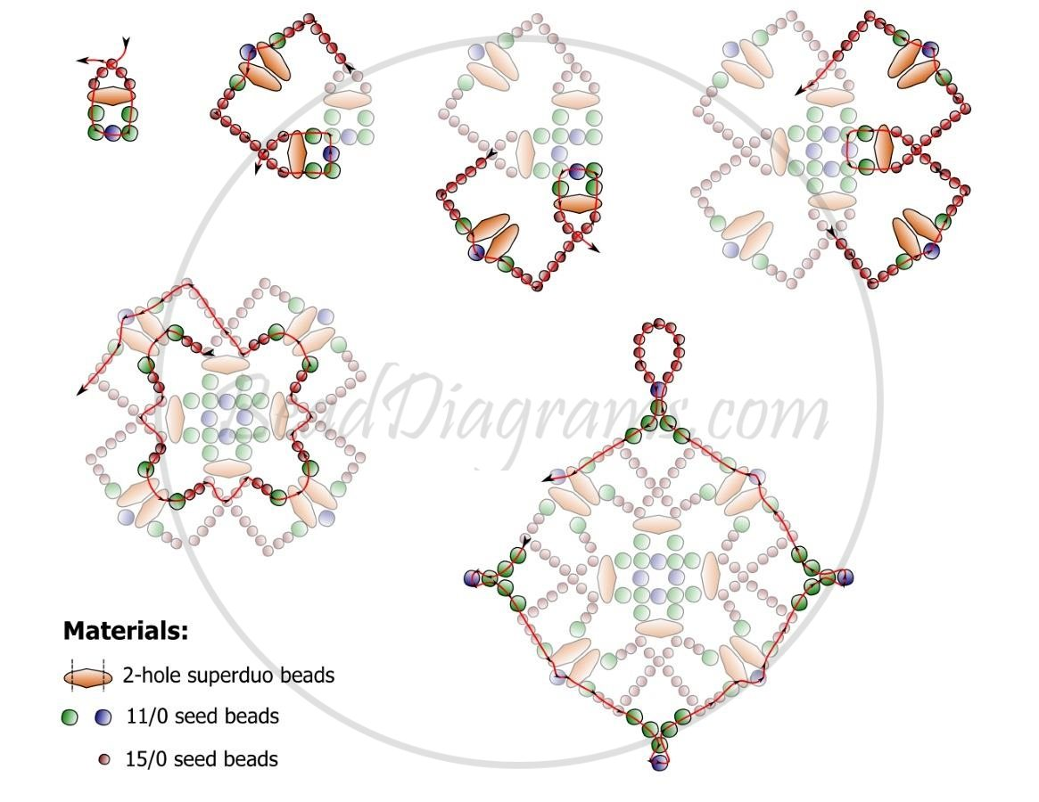 Схема плетения ажурного кулона из бисера