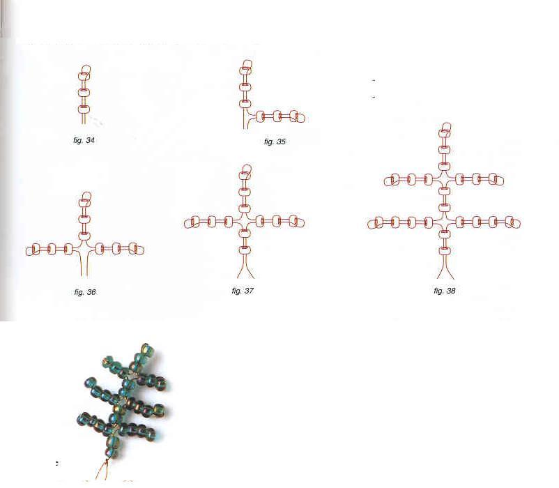Мимоза из бисера: схема плетения листьев