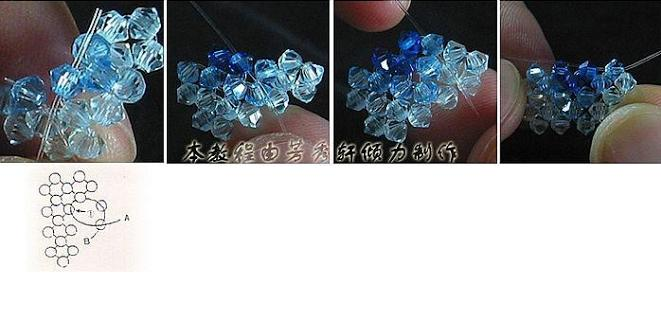 Кольцо из бусин биконусов -2