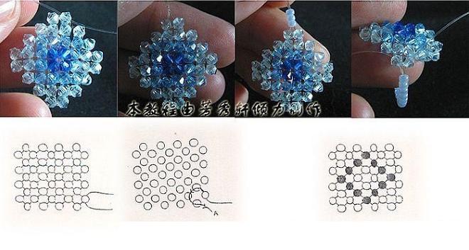 Кольцо из бусин биконусов 4