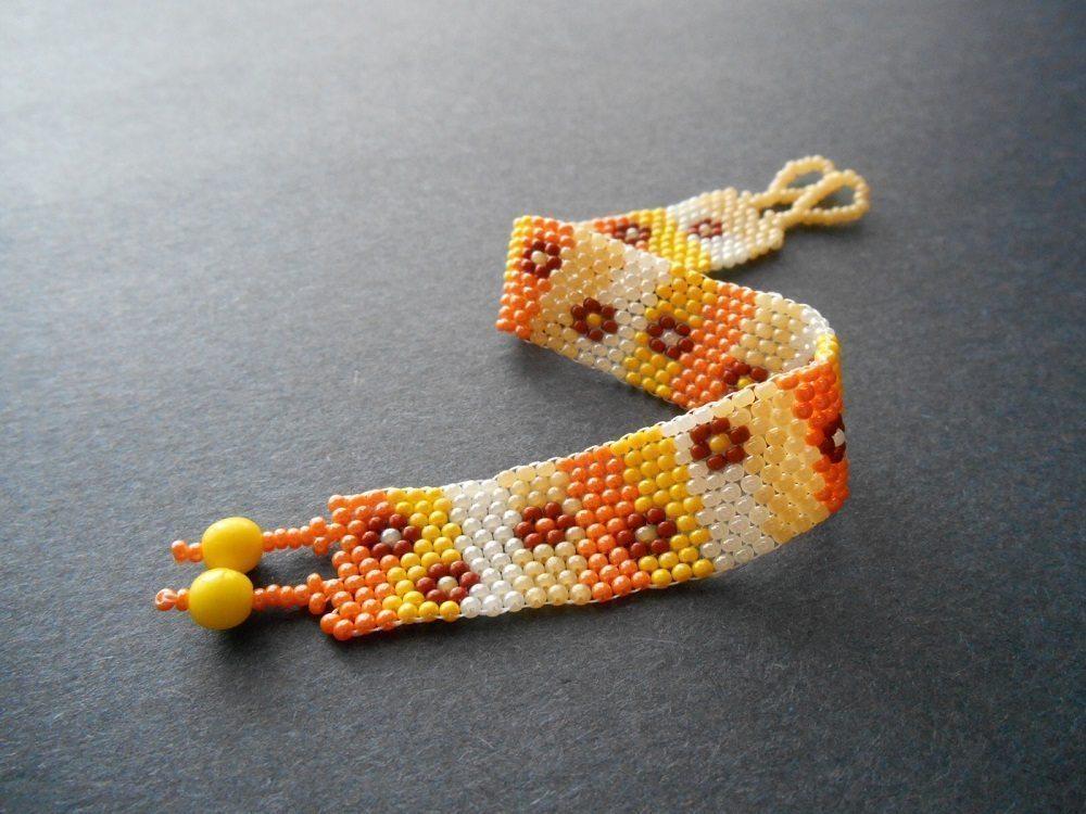 """Браслет из бисера """"Листопад"""" - мастер-класс и схема плетения"""