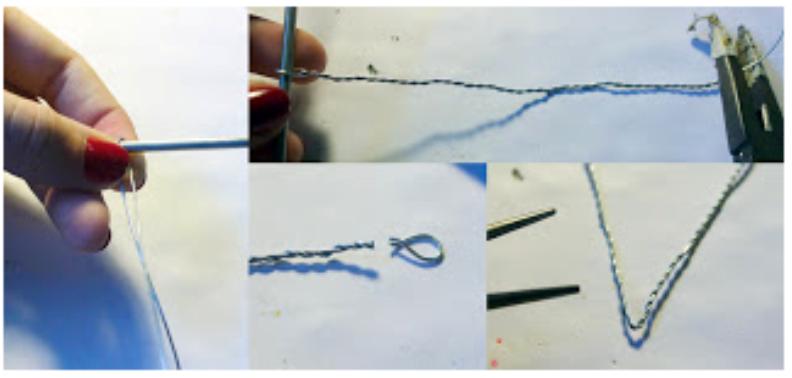 Оберег из бисера-скрутите два куска проволоки спиралью