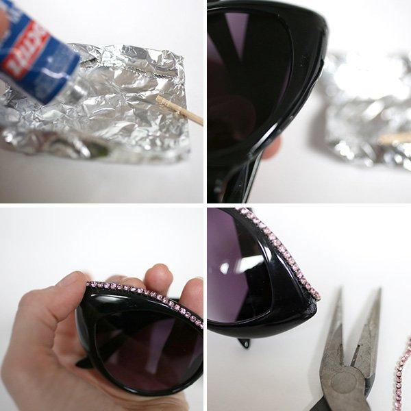 Украшение очков бисером-приклейте кристаллы